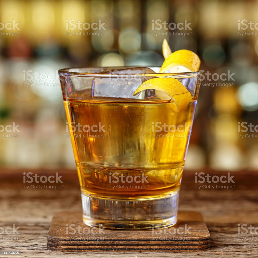 strong alcoholic cocktail in a glass stock photo