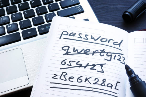 strong and weak easy password. note pad and laptop. - decrepitude stock pictures, royalty-free photos & images
