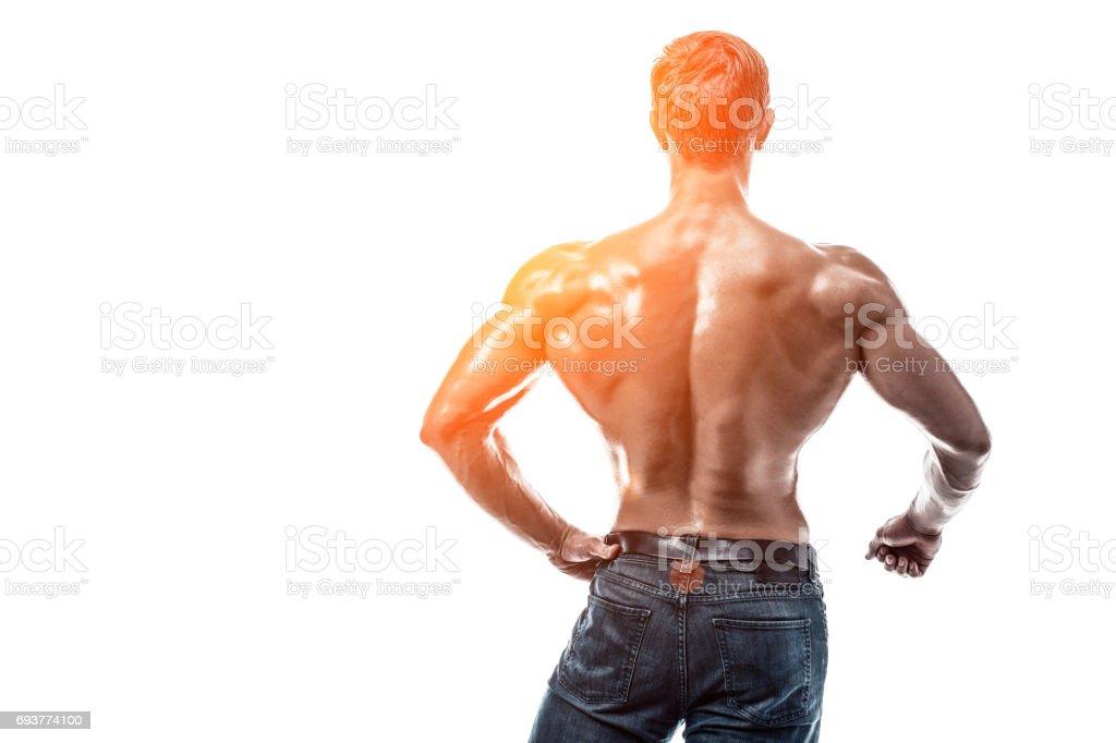 Starke Sportliche Mann Fitness Model Posiert Rückenmuskulatur ...