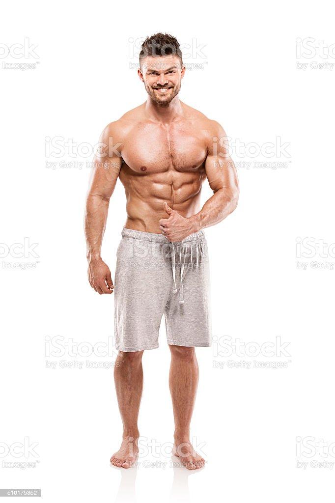 ebf4a112eae5aa なアスレチック男性フィットネスモデルと胴の筋肉を示す大きな ロイヤリティフリーストックフォト