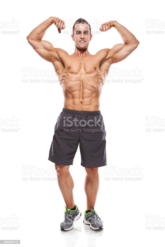 Strong Athletic Man Fitness Model Torso showing muscles royalty-free stock photo