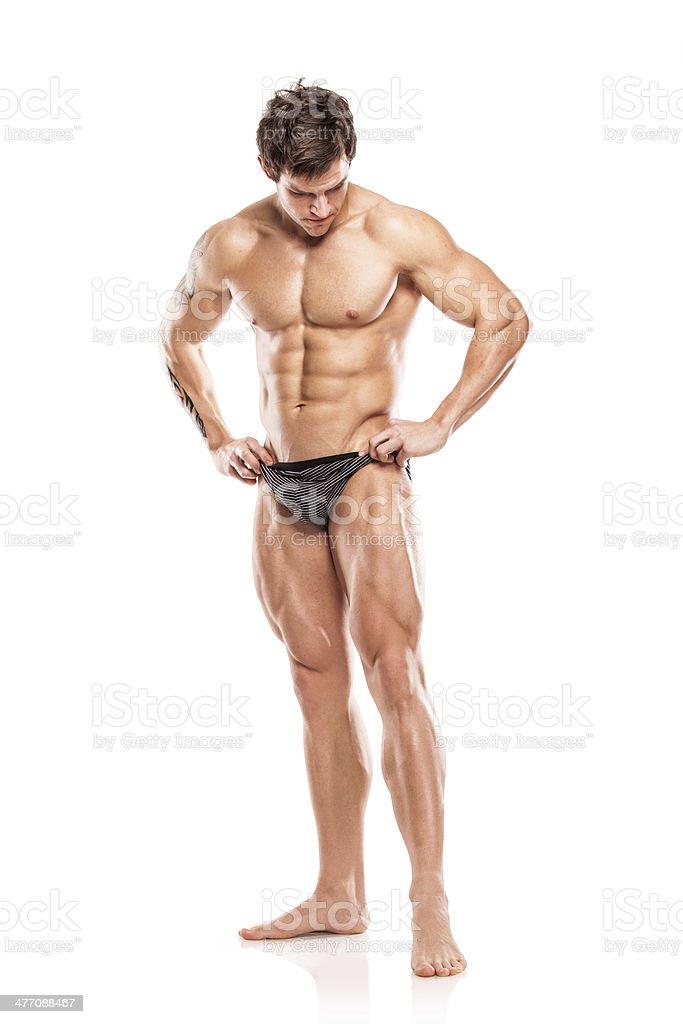 Starken Sportlichen Mann Fitnessmodel Oberkörper Mit Nackten Körper ...