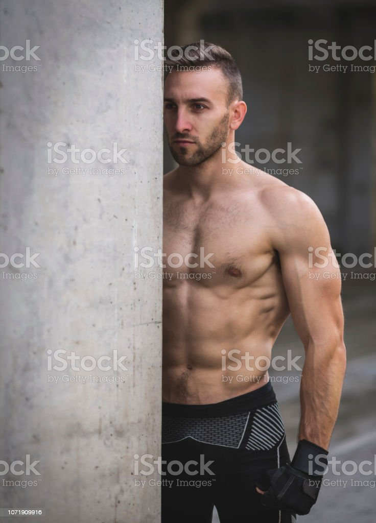 Muscular Man Abs In Gym Shaped Abdominal Strong Male Naked