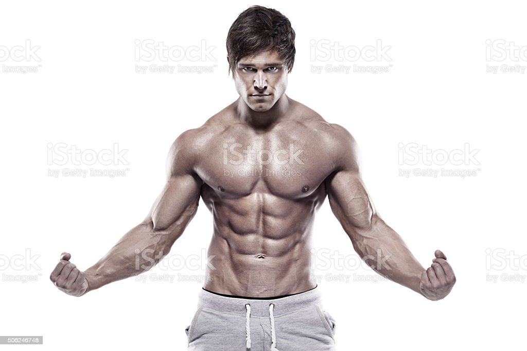 Strong Athletic Man Showing Muscular Body Stock Photo & More ...