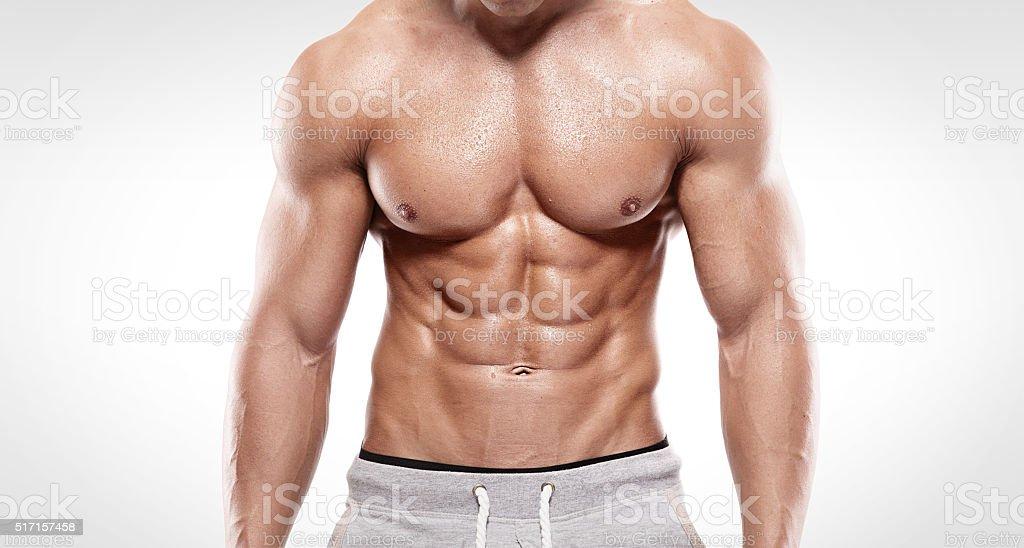 Silny mężczyzna sportowe Wyświetlono mięśni ciała – zdjęcie
