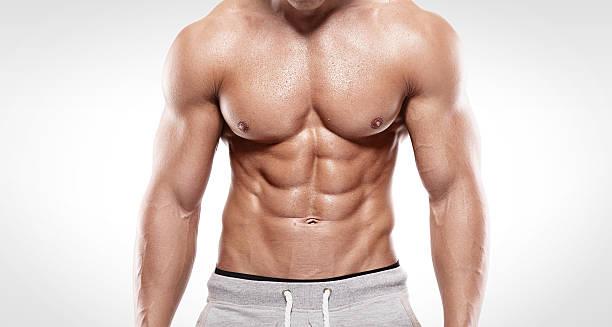 なスポーツ男を筋肉のボディ ストックフォト