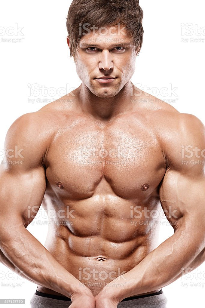 Strong Athletic Man Showing Muscular Body Stock Photo More