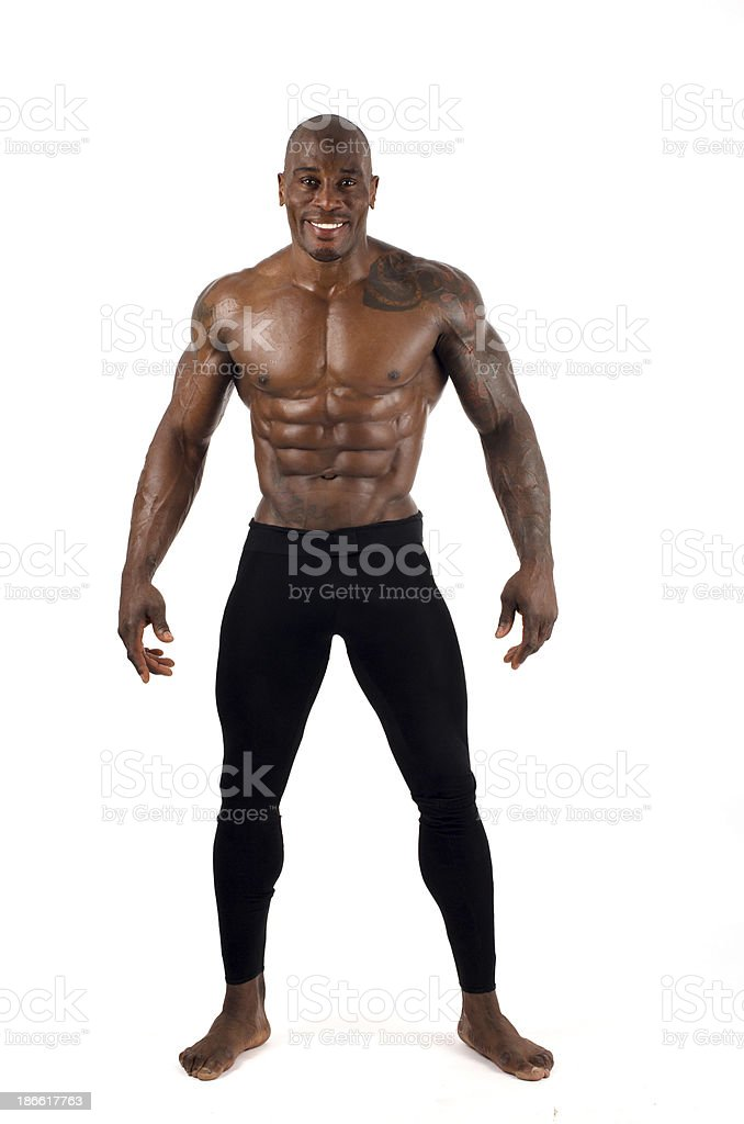 Strong bodybuilder man with perfect abs, shoulders,biceps stock photo