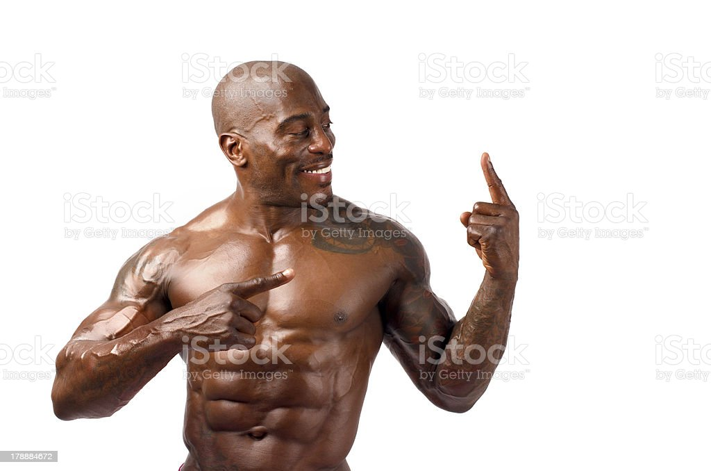 Strong bodybuilder with perfect abs, shoulders,biceps, triceps and chest stock photo