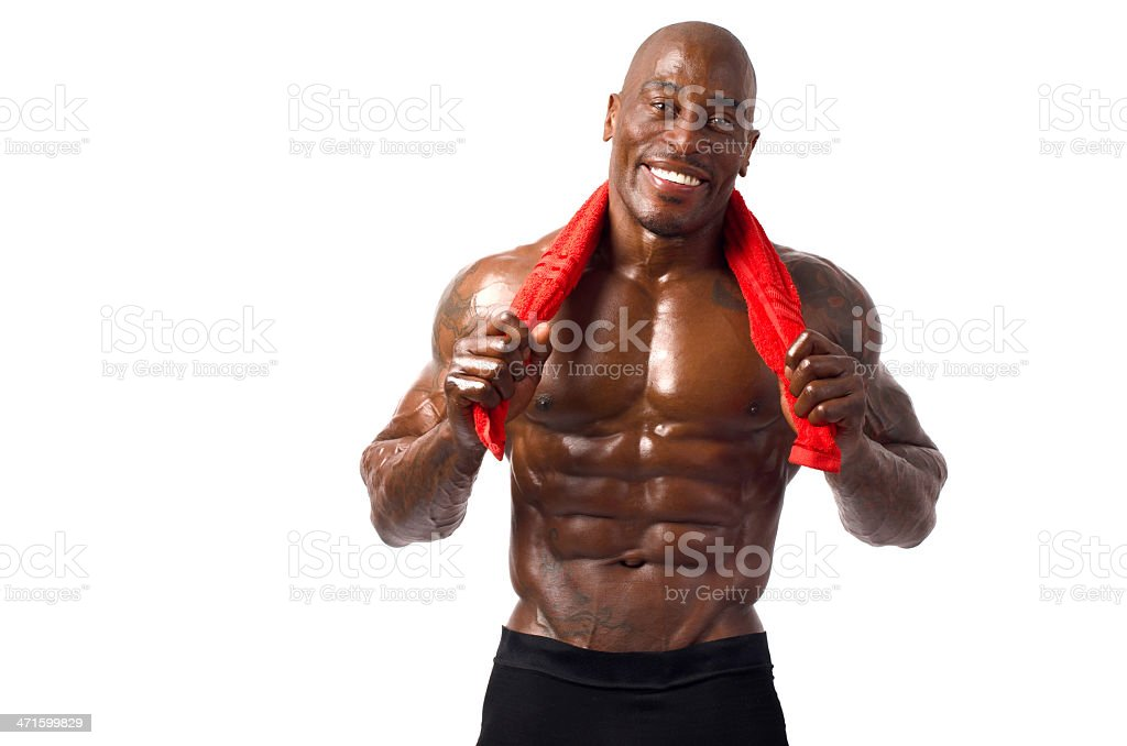Strong bodybuilder with perfect abs, shoulders,biceps, triceps and chest royalty-free stock photo