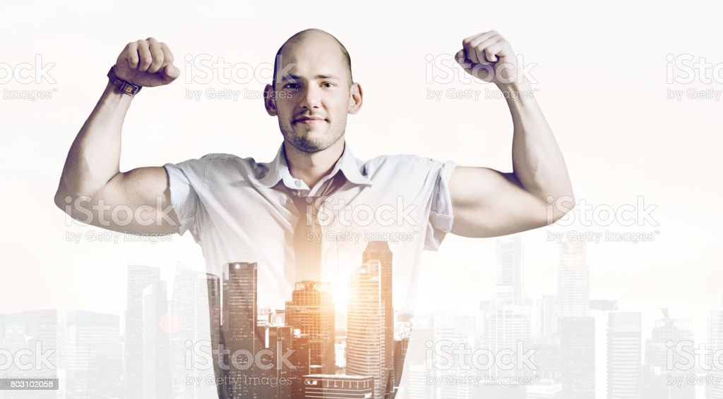 Strong businessman concept stock photo