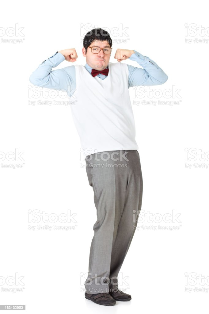 Strong businessman showing his muscles stock photo