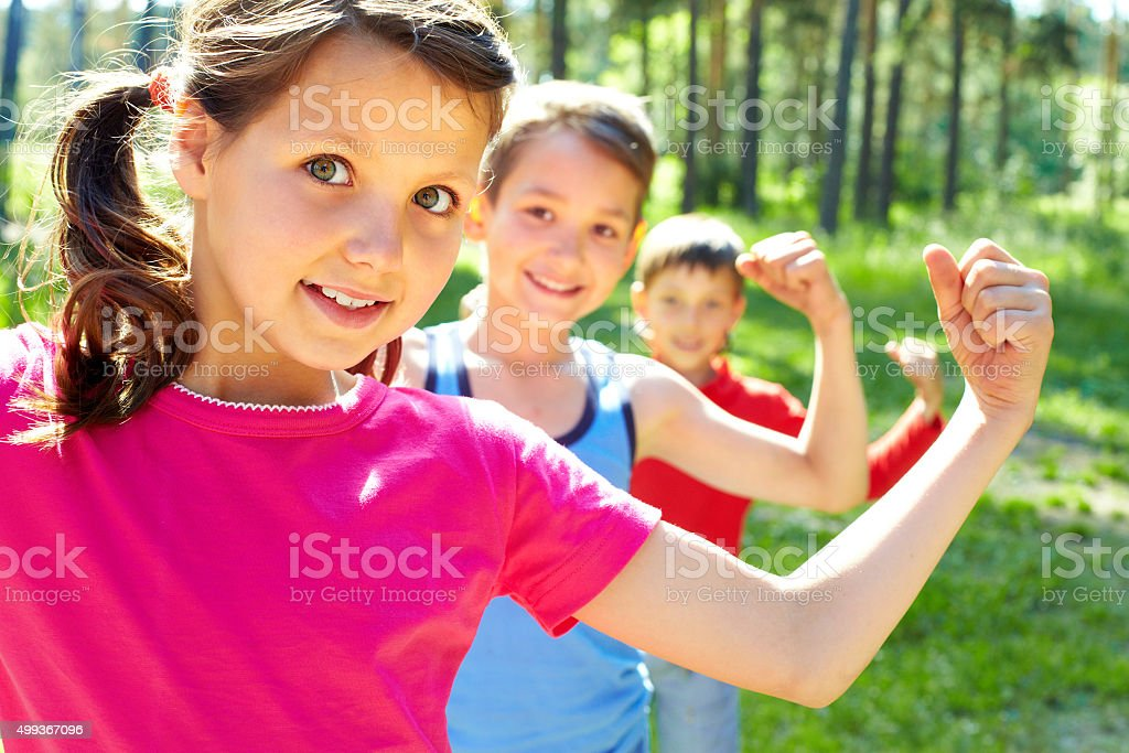 Strong children stock photo