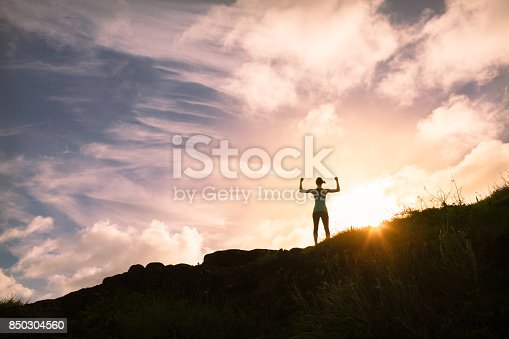 952953174 istock photo Strong confident man standing on top a mountain 850304560