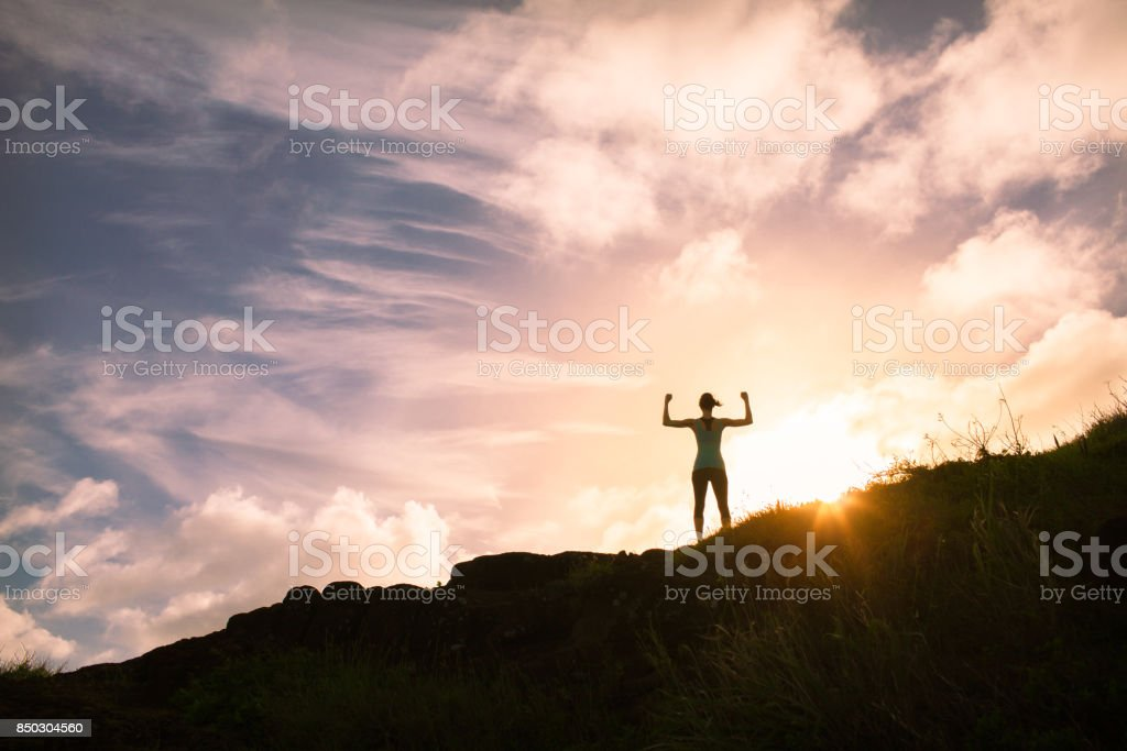 Strong confident man standing on top a mountain stock photo