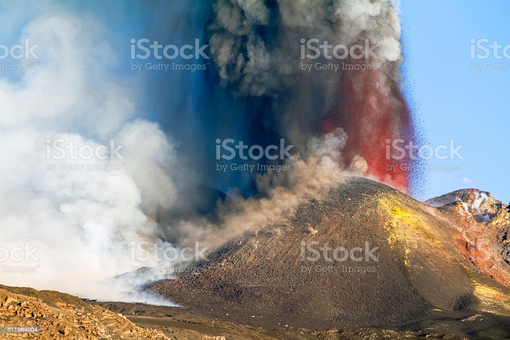 Strong explosion of the volcano Etna stock photo