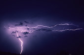 Combination of a vertical and several horizontal lightning bolts in the sky over Boskoop, The Netherlands.