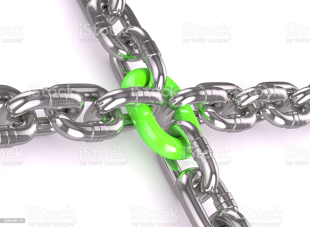Strong green chain stock photo