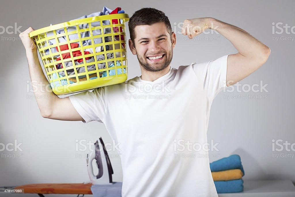 Strong husband stock photo