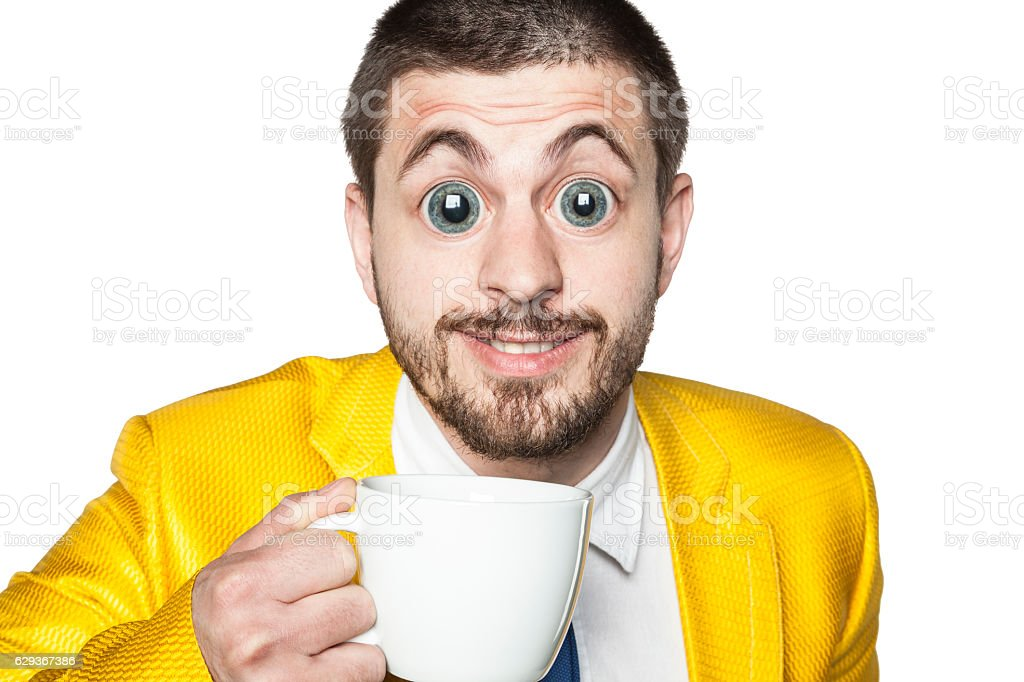 strong impact of caffeine, businessman ready for action stock photo