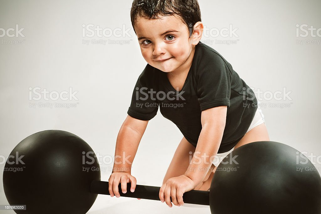 Strong little man royalty-free stock photo