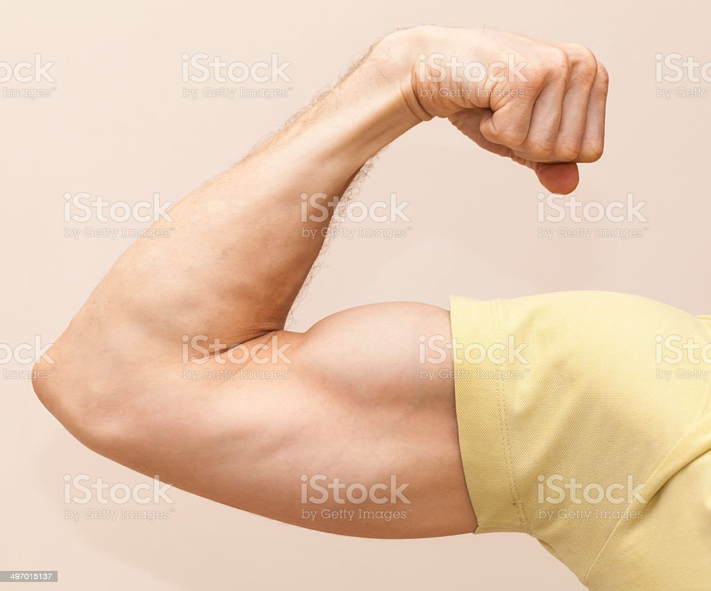 Forte homem braço mostra bíceps.  Close-up de - foto de acervo