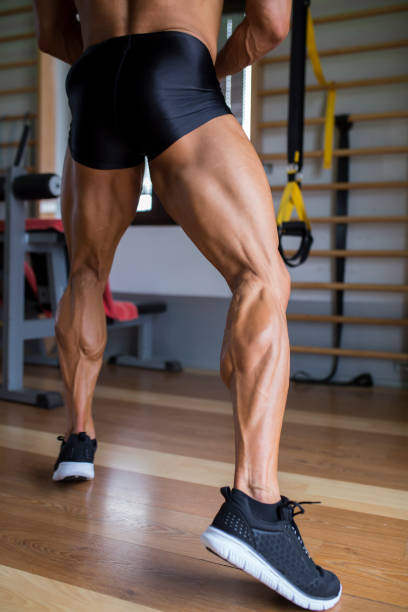 Strong male legs stock photo