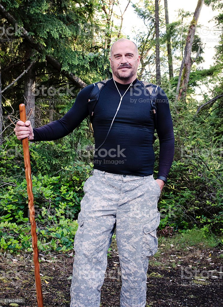 Strong Male with COPD stock photo