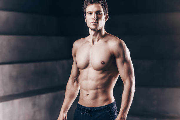 Strong man fitness model. stock photo