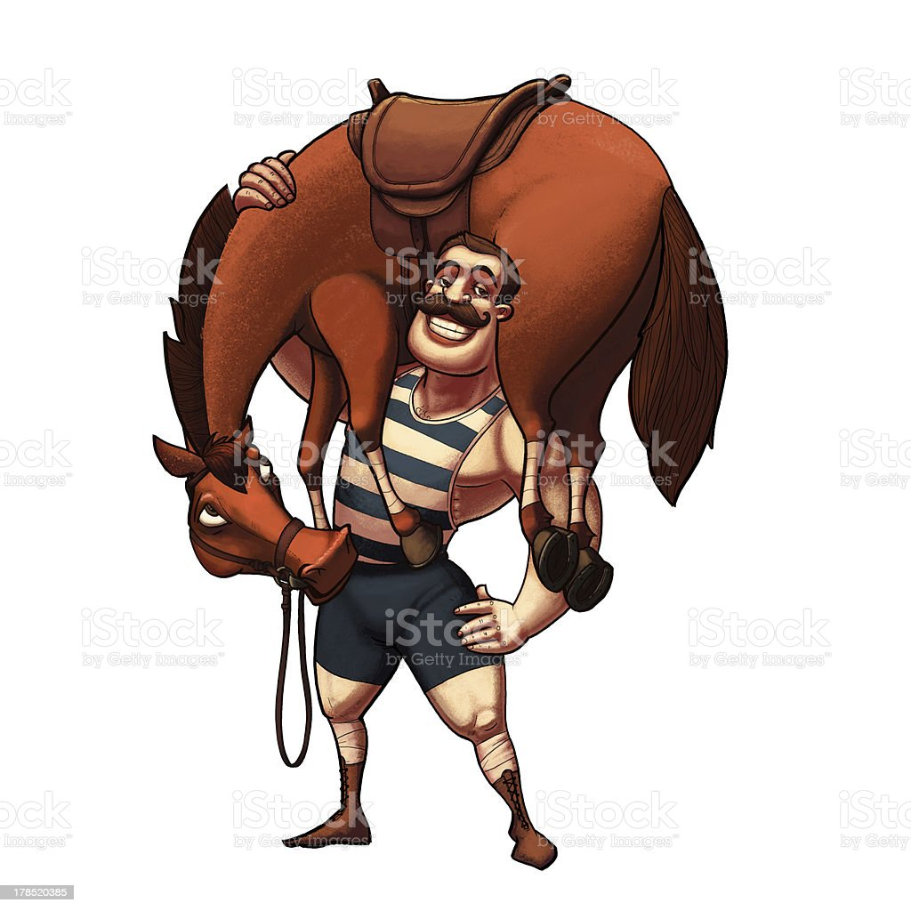 Strong man lifting a horse stock photo