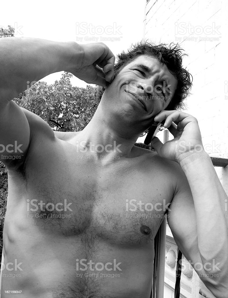 strong man on the phone stock photo
