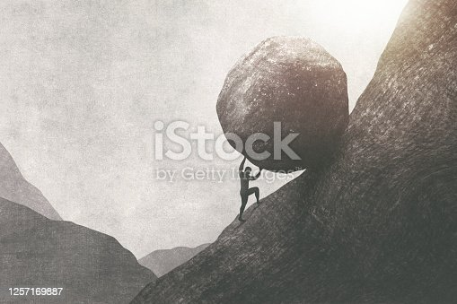 strong man pushing big rock uphill, surreal concept