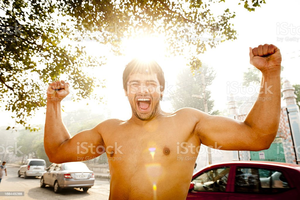 Strong Man Roars royalty-free stock photo