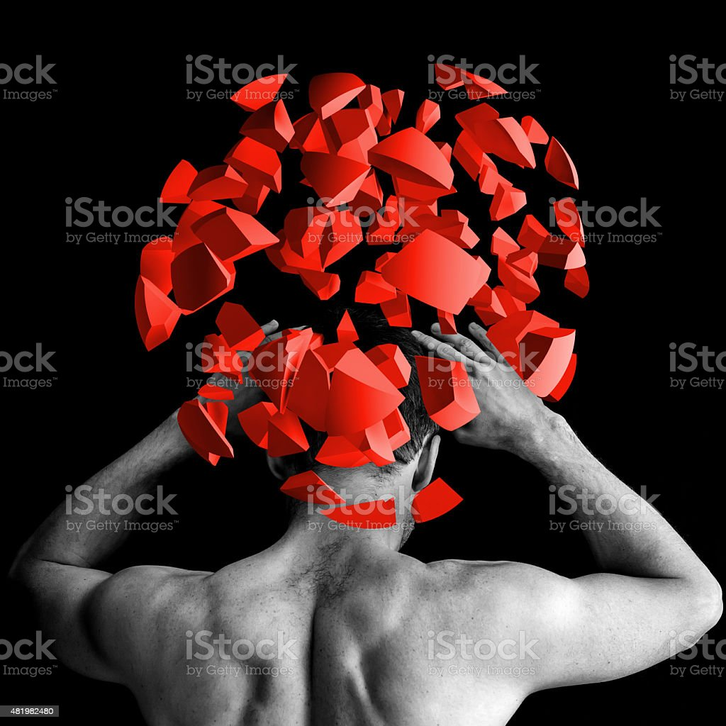 Strong man with red brain explosion on black, 3d stock photo