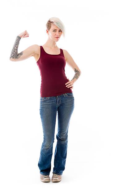 starkes modell isoliert mit arm curl - tattoos frauen arm stock-fotos und bilder