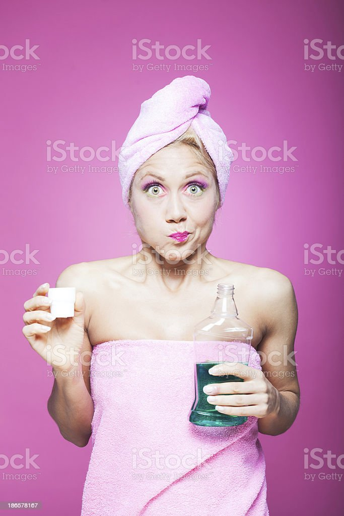 Strong mouthwash troubles_ humor stock photo