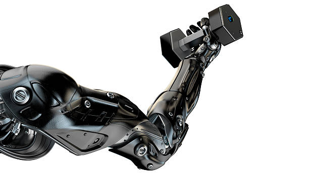 Strong muscular robotic arm stock photo