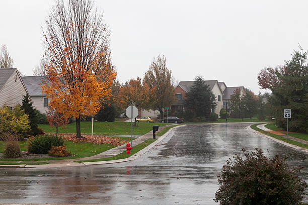 Strong Rain - Suburban Neighborhood stock photo