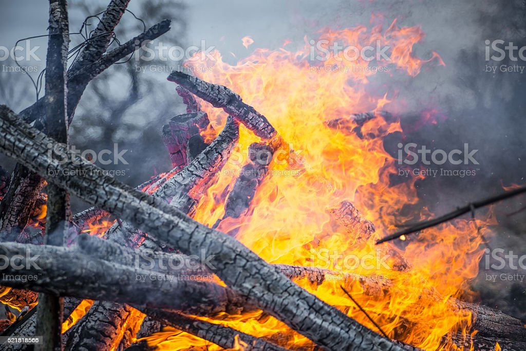 Strong real fire stock photo