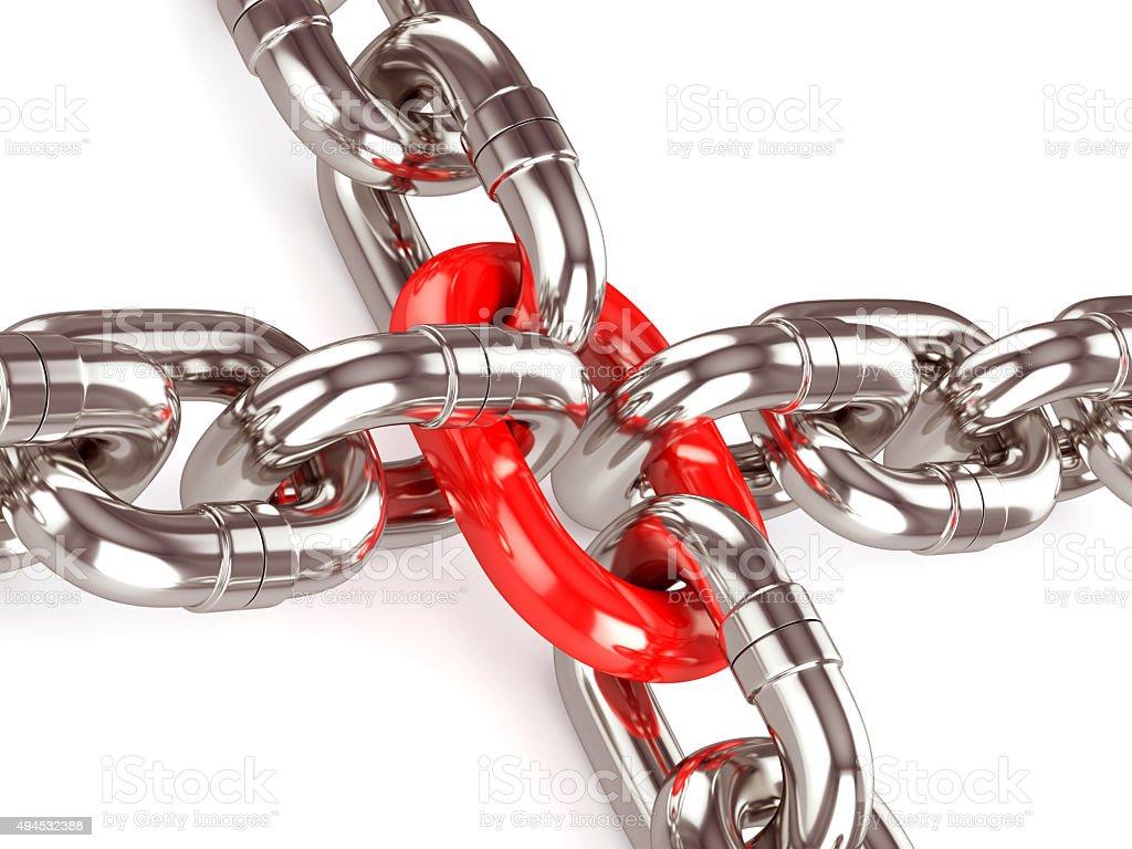 Strong red chain stock photo
