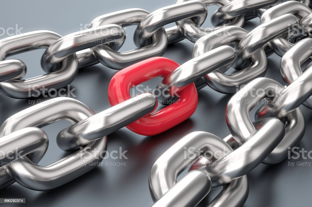 Strong red link stock photo