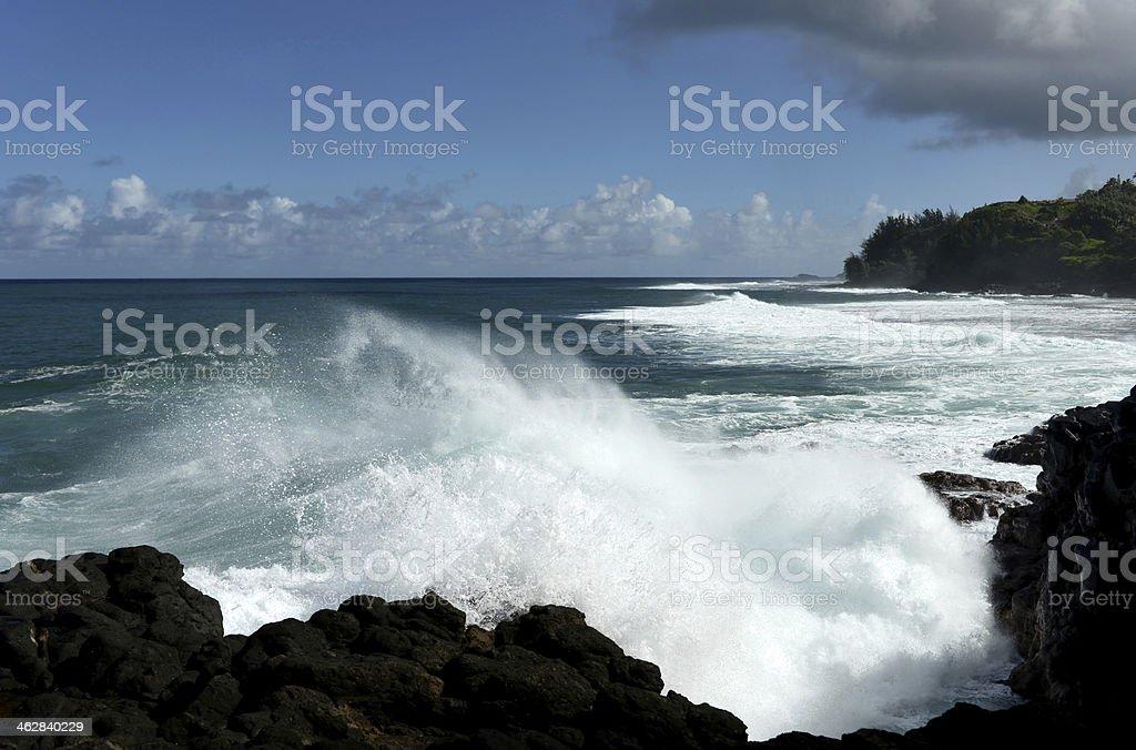 Strong Rip Currents at Kauai stock photo
