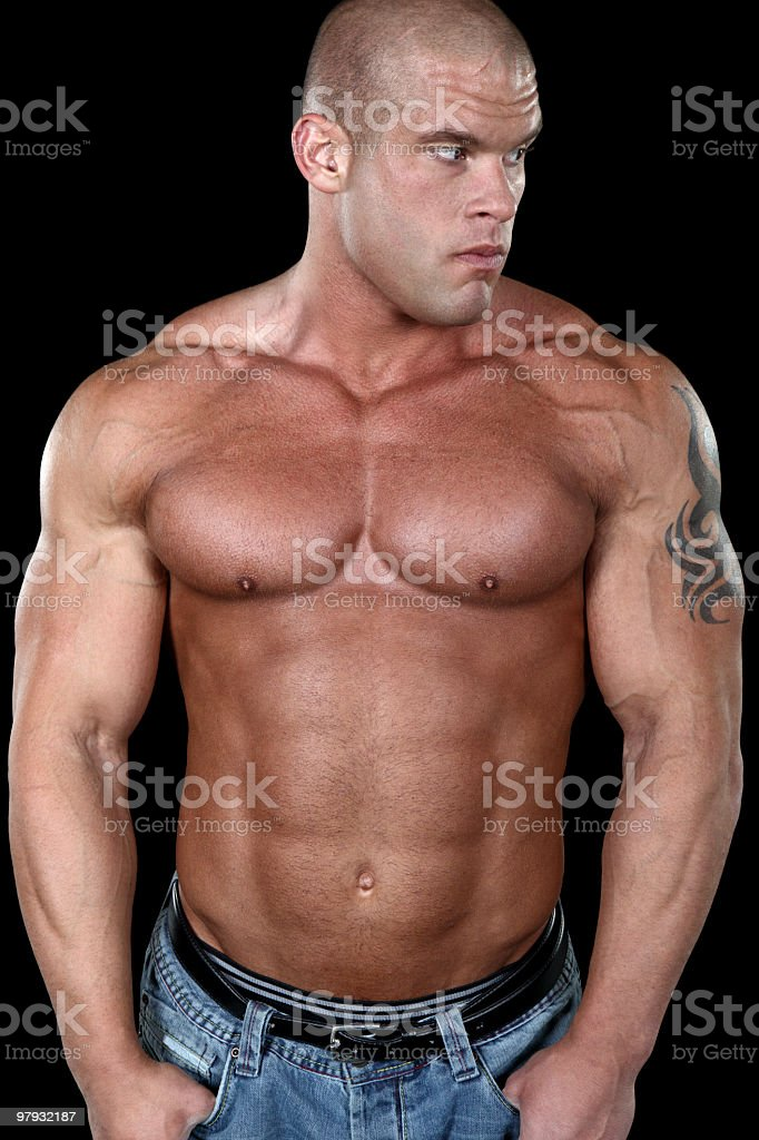 Strong shirtless man portrait royalty-free stock photo