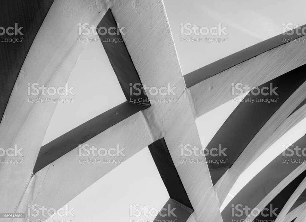 Strong steel beams welded together at sharp angles royalty-free stock photo