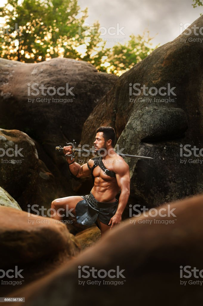 Strong warrior at the woods stock photo