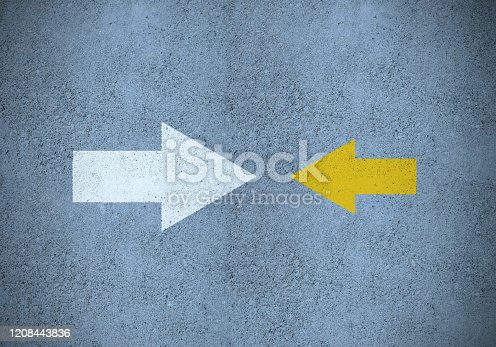 621936988 istock photo Strong  white (idea) arrow against smaller yellow (method) 1208443836