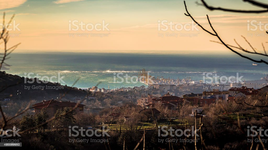 strong wind in the bay of Trieste stock photo