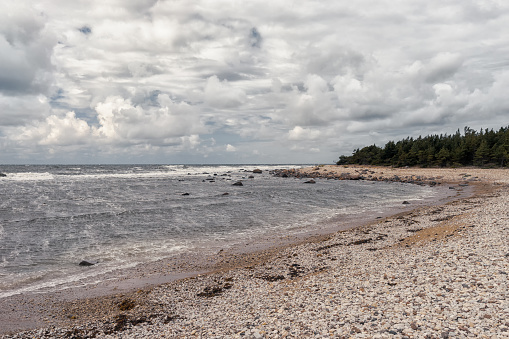Strong wind on the Baltic coast