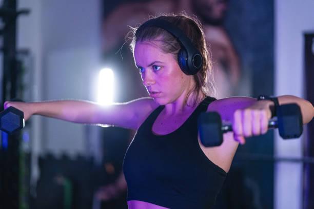 Strong woman bodybuilder stock photo