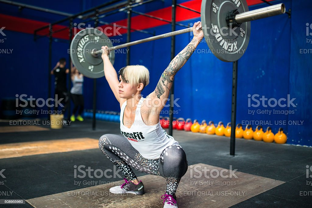 strong woman weightlifting on a gym La Mole gym stock photo